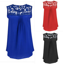 Fashion  Women  Tank Tops Blouse  Sleeveless  Casual  Lace  T-Shirt Vest