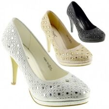 New Ladies Classic Court Glittery Shoes Womens Party Wedding Bridal High Heels