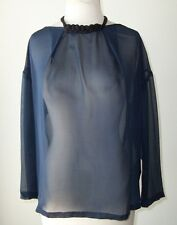 DRIES VAN NOTEN Black or Blue Silk Sheer Beaded Top 40 8