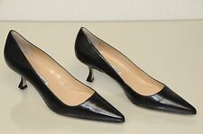 New Manolo Blahnik BB 50 newcio BLACK Leather Shoes Pumps Kitten Heels 40.5