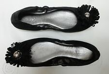 COACH womens A2023 ARIZA Black Nubuck Flower Medallion ballet flats loafers NEW