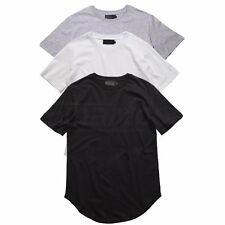 Hipster Mens Hip-hop Extended Elongated Long T-shirt Casual Plain Streetwear Top