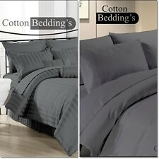 1000TC 100% EGYPTIAN COTTON COMPLETE UK SCALA BRAND BED LINEN IN DARK GRAY @@**