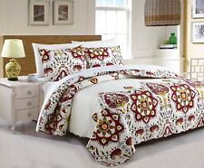DaDa Bedding Bohemian Casablanca Romantic White Red Floral Quilted Bedspread Set