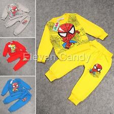 Toddler Boy Kid Long Sleeve Homewear Spiderman Logo Top Pant Outfit Clothes 2-6Y