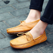 Men's Genuine Leather Casual Peas Shoes Loafer Flat Lace Up Driving Moccasin