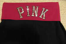 VICTORIA'S SECRET PINK FOLD OVER WAIST BLING CROPPED YOGA PANTS SMALL NWT'S