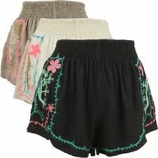 LADIES SHORTS FESTIVAL HOT PANTS EMBROIDERED FLOWER POWER HIPPIE SUMMER BOHO