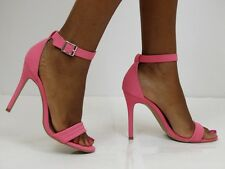 Fuchsia / Pink Open Toe Stiletto High Heel Strappy Sandals Stylish Ankle Strap