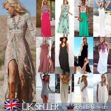 UK Sexy Womens Ladies Summer Chiffon Ladies Party Evening Beach Long Maxi Dress