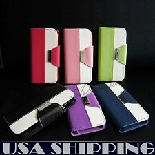 PU Leather Flip Pouch Wallet Stand Case Cover For iPhone 5/5S