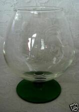 Collectible Vintage Green & Crystal Blown Glass Brandy Snifter / Footed Vase