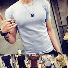 Fashion Mens Summer Casual Slim T-shirt Pure Color Crew Neck Tops Short Sleeve