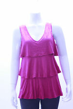 Vintage Suzie Pink Ruffled V-Neck Sleeveless Casual Top Size S, M