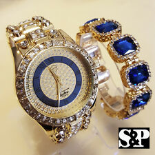 MEN HIP HOP ICED OUT GOLD PT BIG CZ WATCH & BLUE SAPPHIRE BRACELET COMBO SET