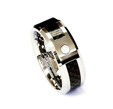 AMZ 8Mm Black Fiber With Cz Tungsten Carbide Ring Men Jewelry Wedding Band