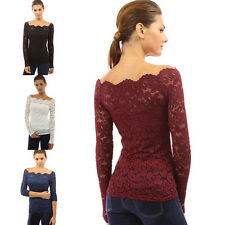 Stylish Women Casual Lace Off Shoulder Slim Fit T-Shirt Tops Long Sleeve Blouse