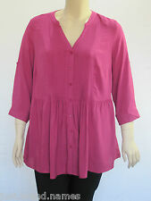 Autograph Ladies 3/4 Sleeve Pleat Front Shirt sizes 14 16 18 20 24 Colour Pink