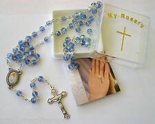 Pope Francis Glass Capped Rosary Beads Aurora Borealis with Enamel Junction