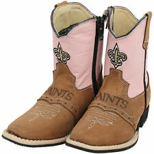 New Orleans Saints Toddler Girls Quarterback Roper Cowboy Boots - Brown/Pink