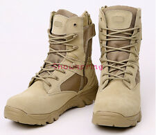 Men Leather Army Military Tactical Ankle Boots Combat Shoes SWAT Duty Work Black