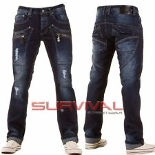 Mens Ripped Jeans New Designer Straight Leg Dark Blue Vintage Denim Size 28 29