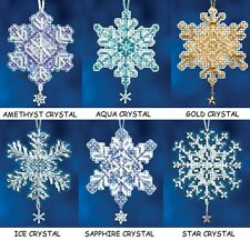 Mill Hill SNOW CRYSTALS Charmed Ornaments Counted Cross Stitch Kits CHRISTMAS