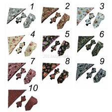 Men's Floral Bowtie Silk Men Self Bow Tie Pocket Square Hankie handkerchief set