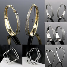 1pair Fashion Women Jewelry Sterling Gold Silver Plated Hoop Dangle Earring Stud