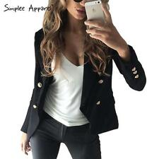 Autumn double breasted white blazer Women slim suit Black outwear OL jacket Coat