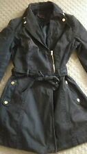 New look navy blue mac skater biker summer coat button zip detail uk 10