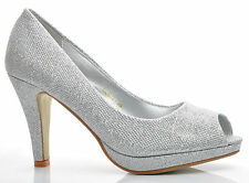 Silver Glitter Wedding Medium Peeptoe Heels Evening Prom Shoes UK 3 4 5 6 7 7.5
