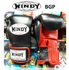BOXING GLOVES VELCRO BGL BLACK-WINDY MUAY THAI FIGHTING LEATHER 8,10,12,14,16oz