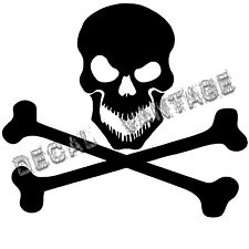 Skull with Crossbones Style B Vinyl Sticker Decal  - Choose Size & Color