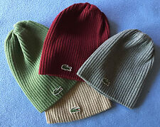 LACOSTE GREEN CROC RIBBED 100% WOOl BEANIE HAT CAP 4 Choices