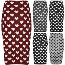 Womens Ladies Knitted Stretchy Hearts Midi Bodycon Office Tube Pencil Midi Skirt