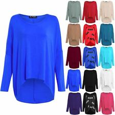 Womens Ladies Lagenlook Baggy Oversize Layering Off Shoulder High Low Jumper Top