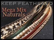 Feather Hair Extensions Natural Mega Mix Grizzly 52pc Pack Optional LoopTool Kit