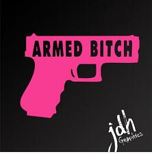 Armed B#%* Vinyl Decal Car Sticker Funny Pink Girl Gun Pistol Molan Labe Conceal