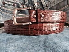 "NEW REAL CROCODILE CAIMAN HORNBACK""Head to Tail""SKIN LEATHER MENS BELT BROWN"