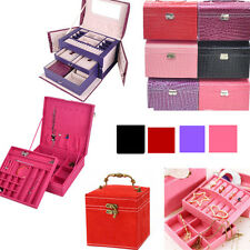 FAUX LEATHER JEWELLERY BOX CASE HOLDER STORAGE ORGANIZER 3 types 4 colors UK SA