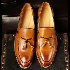 England Retro block heels pointed toe Men's brogue tassels oxfords leather shoes