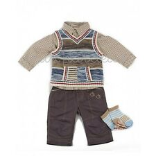 NWT Deux par Deux baby boys Four Piece Set pants shirt vest socks 12M, 18M, 24M
