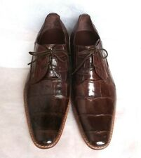 PREMIUM SHINY CROCODILE BELLY DRESS LACE UP OXFORDS MENS SHOES BROWN