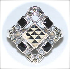 Renaissance-Style BLACK ONYX & Marcasite RING 925 Sterling Silver (SIZE 6,7,8)