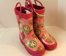 Paul Frank pink rain boots with Monkeys all over them rain galoshes little girls