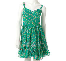 New~NWT~LAUREN CONRAD Fully Lined Lightweight Ruffle Chiffon Dress~Green~Size 0