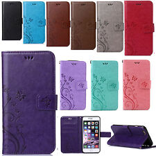 Flip Retro Leather Card Slot Cover Stand Wallet Case For  iPhone/Samsung Model