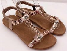 Ladies Beige Ankle Strap Comfort Flats Low Heel Dress SANDALS Shoes NEW