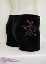 RS Gymwear Gymnastics Shorts, Black Velvet, 'Star Gymnast' diamante (RSG-046)